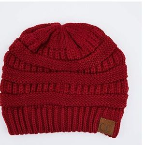 CC fur lined beanie. Red